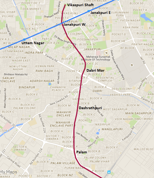 Actual location of shaft & stations on this section of the Magenta line