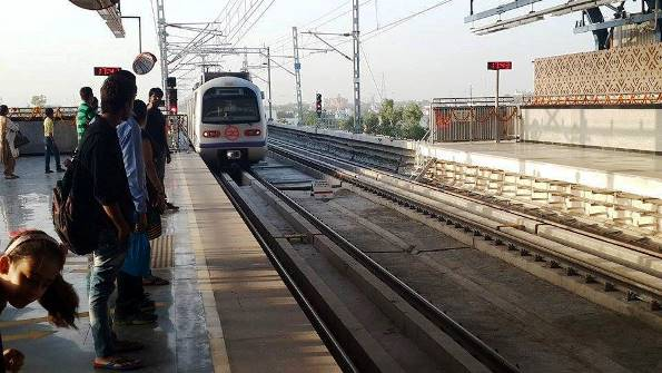 Here she comes! - terminal station of Escorts Mujesar station - Photo Copyright Fariabad Metro - FB