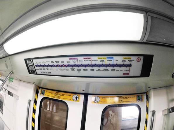 Updated route map within Violet line trains - Photo Copyright Economic Times