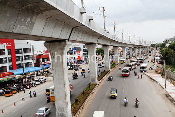 Looking south from the Uppal station as the viaduct snakes towards Nagole