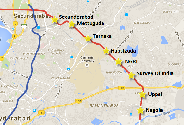 Route of Nagole - Mettuguda stretch