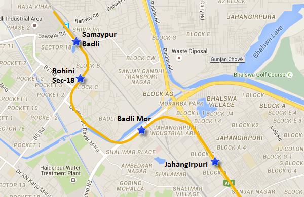 Route of Jahangirpuri to Badli section of Yellow line