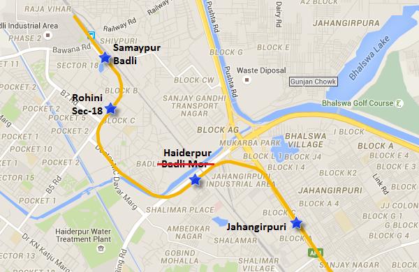 Location of Haiderpur station