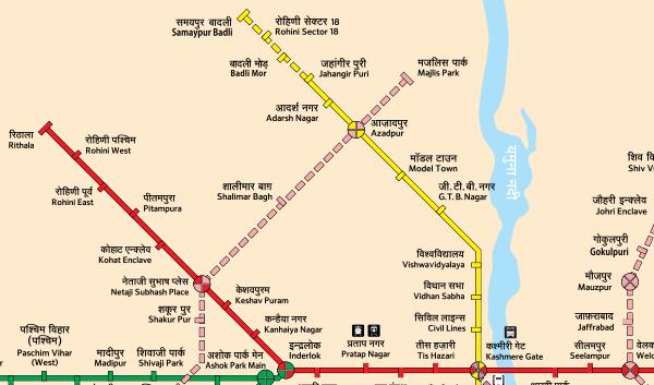 Location of Jahangirpuri-Samaypur Badli metro - Map Courtesy DMRC - full full map