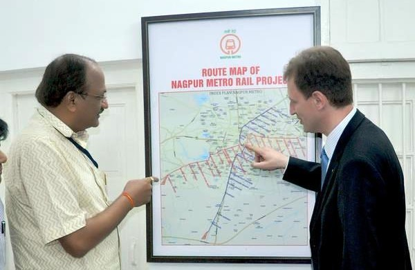 A rep from KfW being briefed on Nagpur's metro routes - Photo Copyright: NMRCL