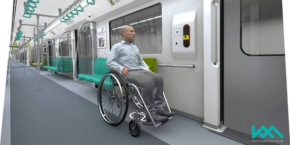 Interior view with space for the disabled