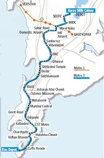 Mumbai Subway Map.Mmrcl Awards Contracts For Mumbai Metro S Line 3 The Metro Rail Guy