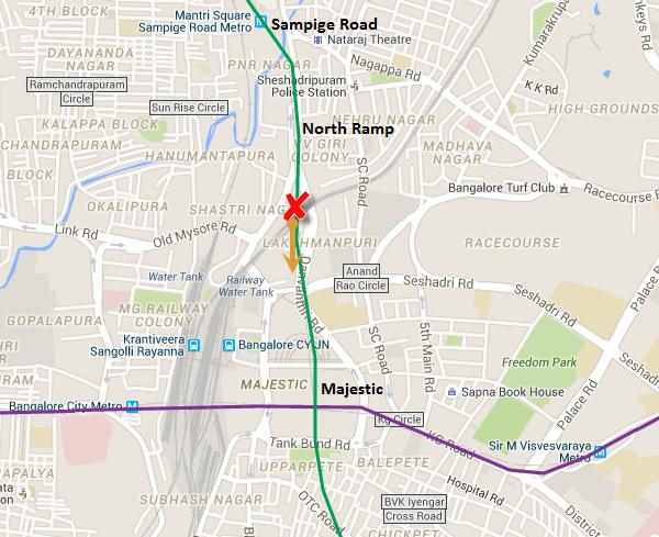 X - location where TBM Godavari got stuck ; Arrow - Direction of tunneling