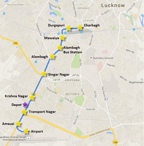 Purple star - location of Depot between Krishna Nagar & Transport Nagar