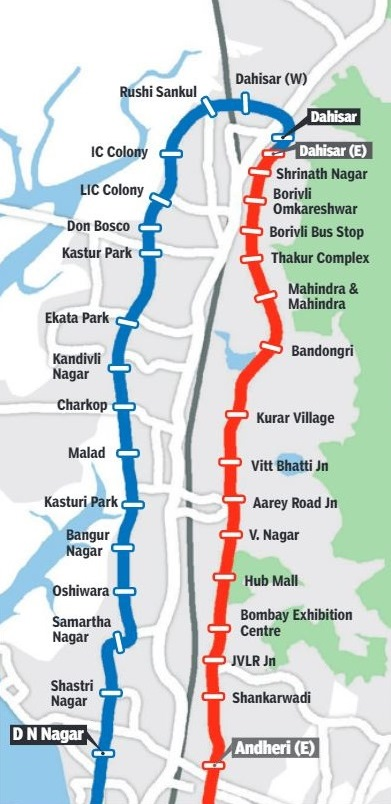 List of stations on Line 2 & 5 - Source: TOI
