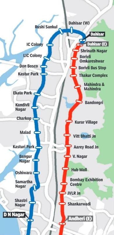 Mumbai Subway Map.List Of Stations On Mumbai S Dahisar Dn Nagar Dahisar E