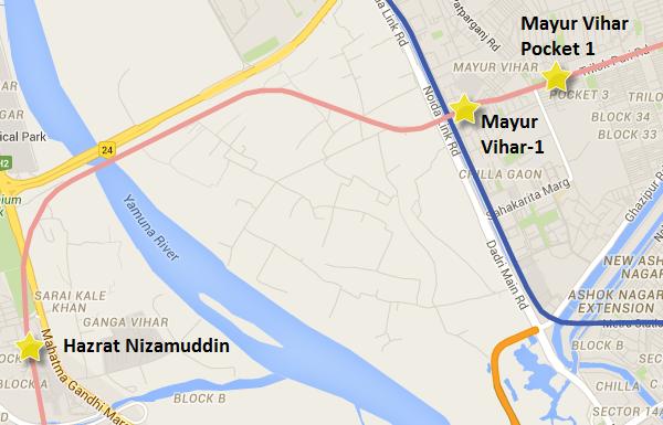 Pink line between Ashram & Trilokpuri