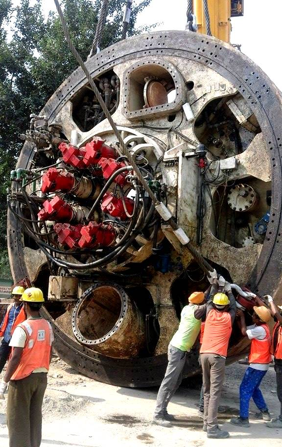 Front shield about to get hoisted and delivered into the shaft - - Photo Copyright: