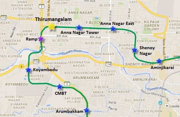 Location of Thirumangalam station - view full Chennai Metro map