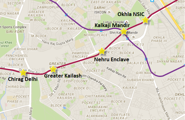 Alignment of Greater Kailash - Nehru Enclave section - view full Delhi Metro map