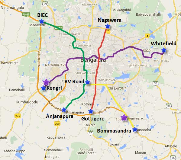 Location of Kengeri & Veerasandra lakes (in purple)