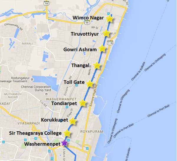 Alignment of Washermenpet - Korrukupet section of the 9 km extension to Wimco Nagar