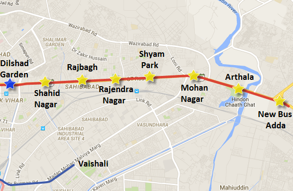 Alignment of Delhi Metro Red line's extension to Ghaziabad's New Bus Adda