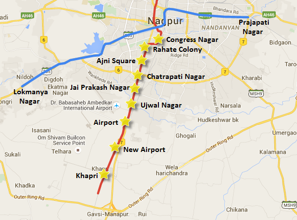 Nagpur Metro's map showing the location of the 9 stations which will be designed by L&T Infra