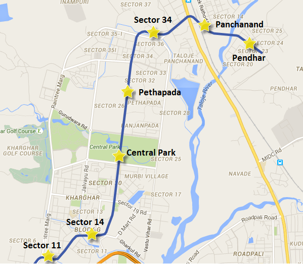 Location of Pethapada station on Navi Mumbai's Line 1