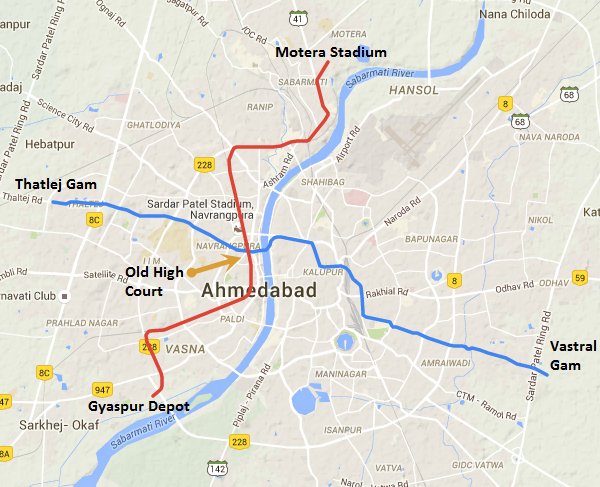 Map of Ahmedabad's Metro
