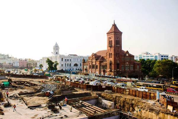Chennai's Central metro station site outside the Victoria Public Hall - Photo Copyright: Biju M