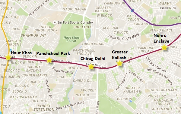 Alignment of Chirag Delhi - Greater Kailash section - view Delhi Metro information