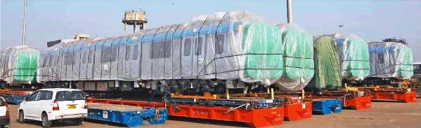 Hyderabad Metro trains at Chennai Port - view larger image