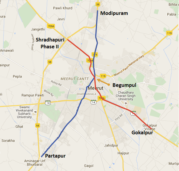 Alignment of Meerut's Metro system