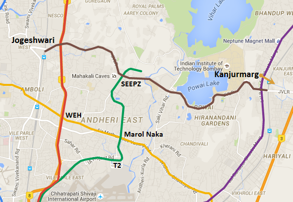 Alignment of the Jogeshwari - SEEPZ - Kanjurmarg metro line