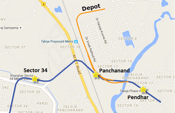 Alignment of Navi Mumbai's Metro in Taloja-Panchanand-Pendhar