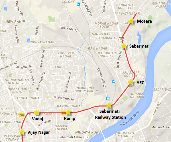 Alignment of Ahmedabad Metro's Motera - Ranip section