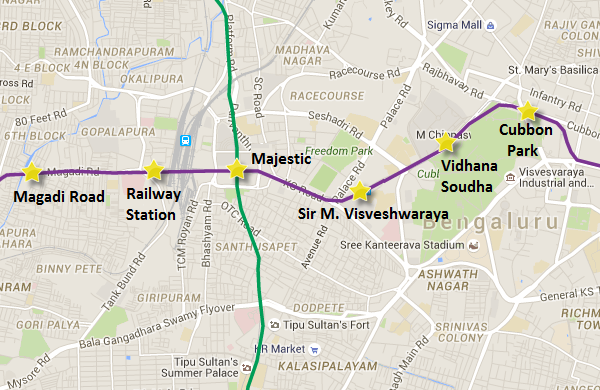 Purple line's underground section - view Bangalore Metro map and information