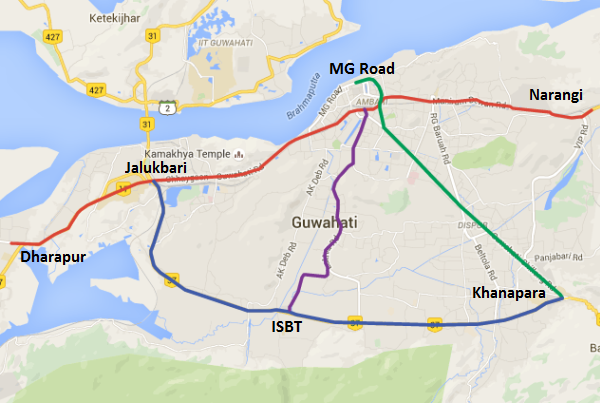 Indicative map of Guwahati's Metro - view Guwahati Metro information and map