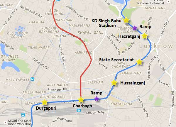Underground section of Lucknow Metro - view Lucknow Metro information & map