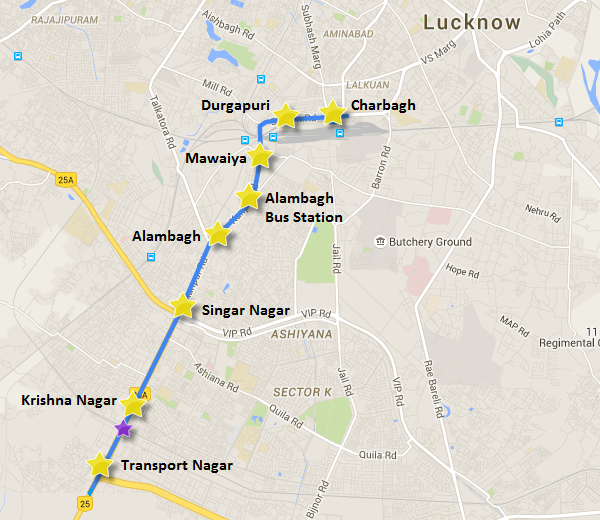 Purple star: location of girders over Railway ROB - view Lucknow Metro information & map