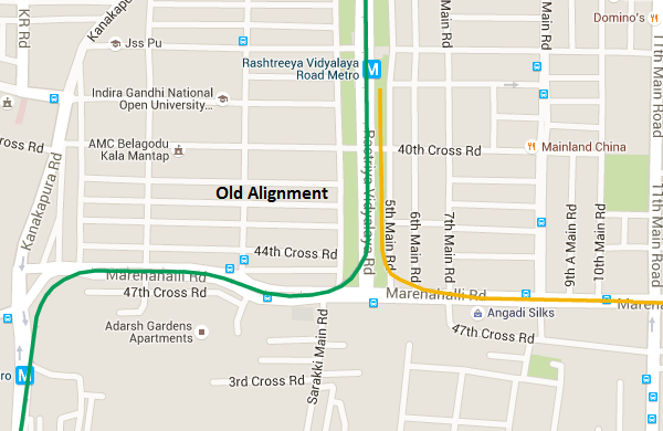 Old Alignment - view Bangalore Metro Phase 2 map and information