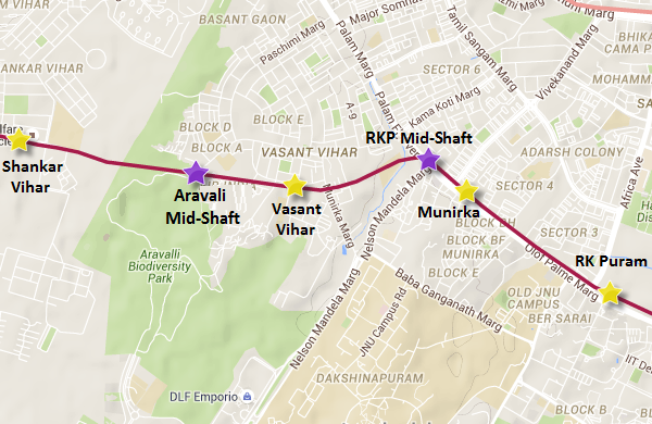 Delhi Metro's Aravali midshaft - Vasant Vihar section - view Delhi Metro map & information