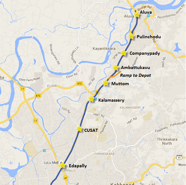 Location of Muttom depot and Kalamassery station - View Kochi Metro map and information