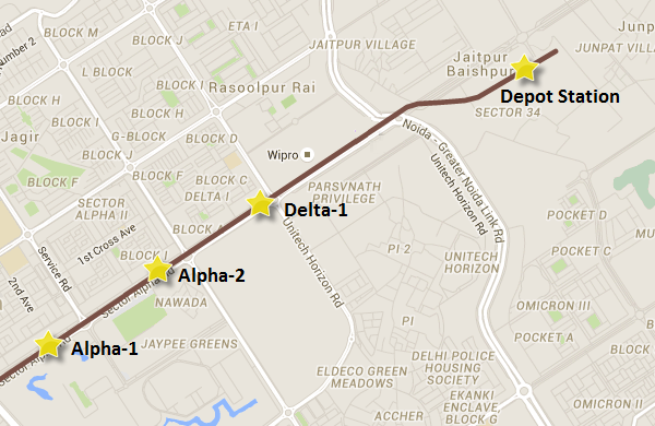 Alignment of the line in Gr. Noida - view Noida-Gr.Noida Metro map