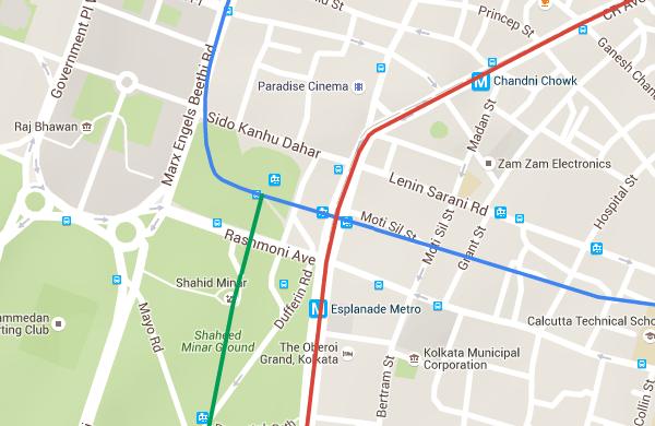 Alignments of Kolkata's 3 lines at Esplanade - view Kolkata Metro map & information