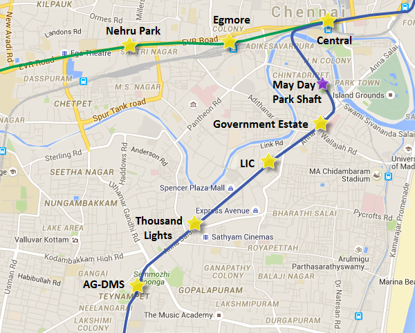 Alignment of UAA-02 between May Day Park & AG-DMS - view Chennai Metro map & information