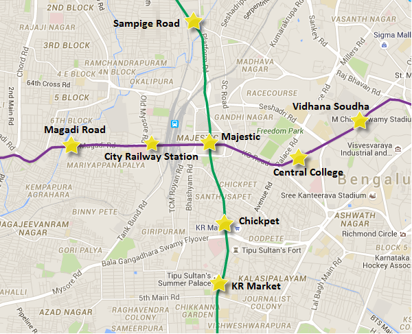 Alignment of Chickpet - Majestic station - view Bangalore metro map & information