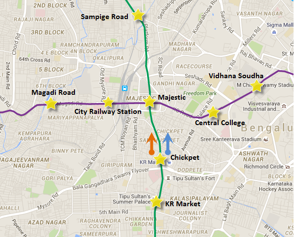 Arrows represent direction of tunneling by the TBMs on the Green line's underground section view Bangalore Metro map