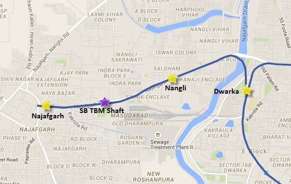 Alignment of Dwarka - Najafgarh line - view Delhi Metro Phase 3 information & map