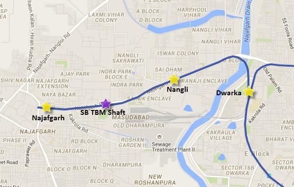 Alignment of Dwarka - Najafgarh line - view Delhi Metro Phase 3 information & map