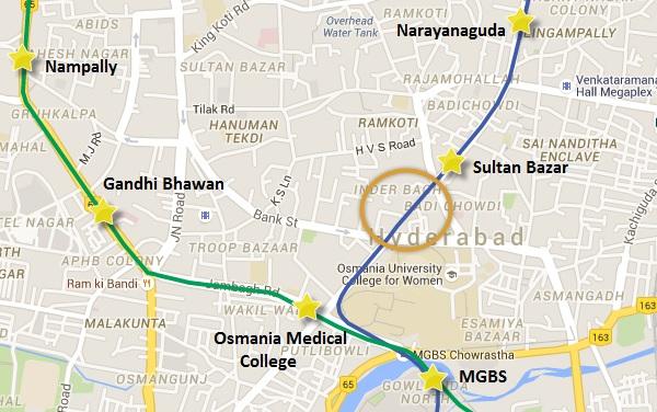 Location of Sultan Bazaar Road - view Hyderabad Metro map & information