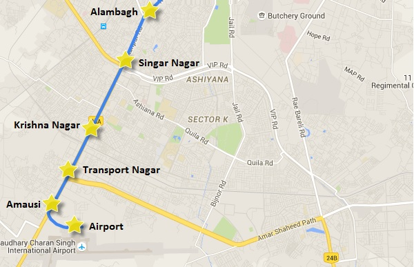 Alignment of Lucknow's Metro to the Airport - View Lucknow Metro map & information