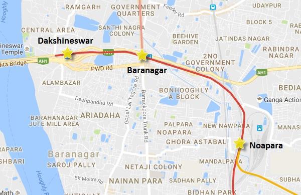 Alignment of Kolkata Metro's extension to Dakshineswar - view Kolkata Metro map & info