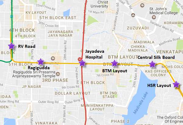 Hsr Layout Bangalore Map HCC URC JV Lowest Bidder for Bangalore Metro's RV Rd – HSR Layout